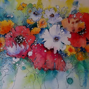 (CreativeWork) Spring Sparkle by Helen Miles. watercolour. Shop online at Bluethumb.