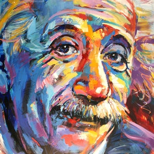 (CreativeWork) Albert Einstein by Jos Coufreur. arcylic-painting. Shop online at Bluethumb.