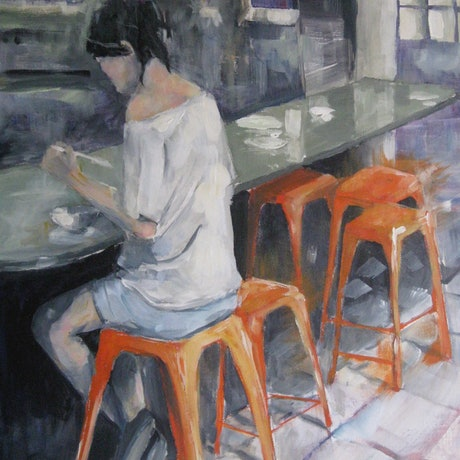 (CreativeWork) GIRL ON AND ORANGE STOOL by Paul Harbour. Acrylic Paint. Shop online at Bluethumb.