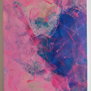(CreativeWork) Fluorescent Frenzy 2 by Rebecca Warr. Acrylic Paint. Shop online at Bluethumb.