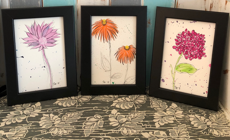 (CreativeWork) Favourite trio - original framed artwork by Debra Ryan. watercolour. Shop online at Bluethumb.