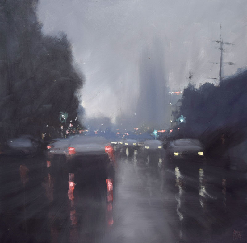 (CreativeWork) Home-time rain by Mike Barr. oil-painting. Shop online at Bluethumb.