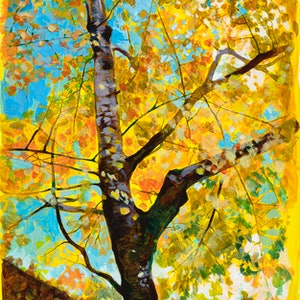 (CreativeWork) Golden Canopy in Changing Seasons - ORIGINAL ARTWORK by Scott Neil. arcylic-painting. Shop online at Bluethumb.