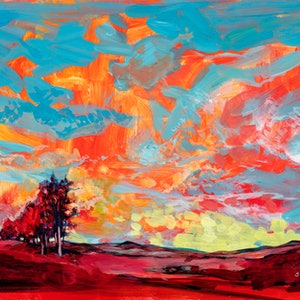 (CreativeWork) Red Earth and Blue Sky - ORIGINAL ARTWORK by Scott Neil. arcylic-painting. Shop online at Bluethumb.