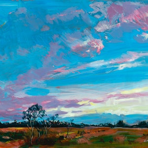 (CreativeWork) Sunrise Over a Queensland Farmland - ORIGINAL ARTWORK -  FREE NEXT DAY COURIER DISPATCH by Scott Neil. arcylic-painting. Shop online at Bluethumb.