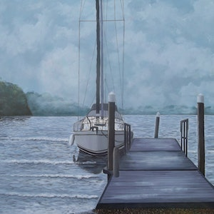 (CreativeWork) Misty Morning by Paul Bennett. arcylic-painting. Shop online at Bluethumb.