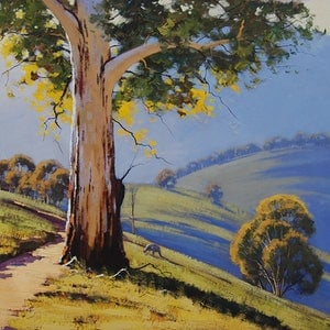 (CreativeWork) Bathurst Gum by Graham Gercken. oil-painting. Shop online at Bluethumb.