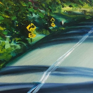 (CreativeWork) Just Around The Corner by Stephen Tiernan. oil-painting. Shop online at Bluethumb.
