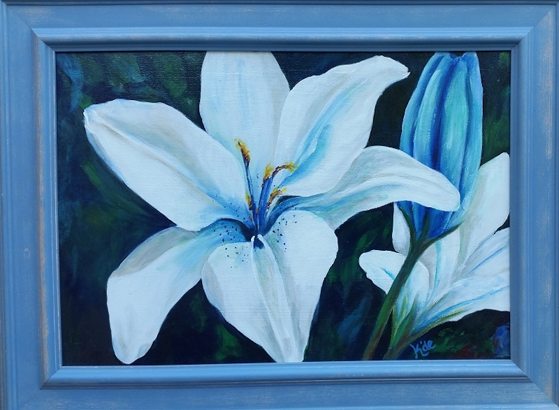 (CreativeWork) Lilly's in Blue by Kathryn deBoer Ipsen. arcylic-painting. Shop online at Bluethumb.