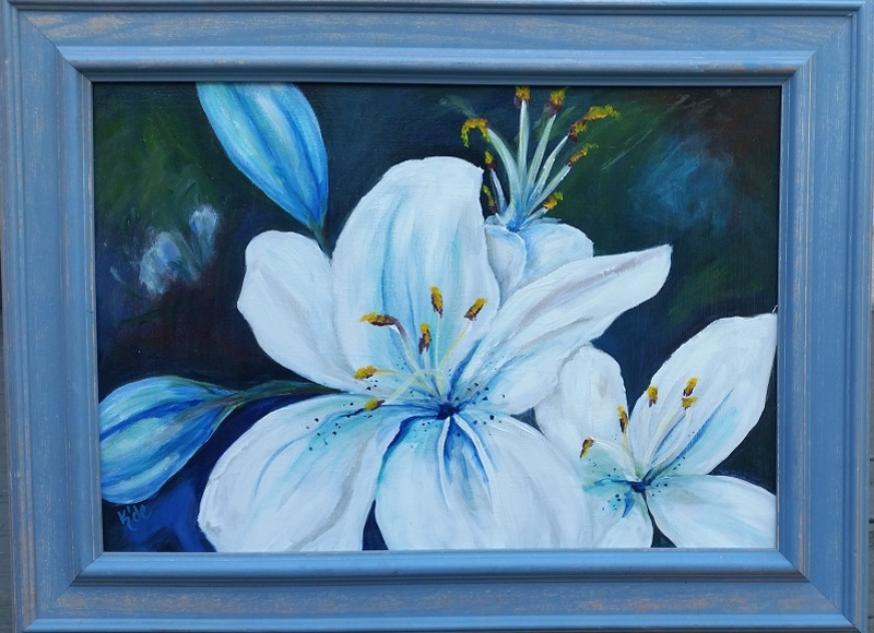 (CreativeWork) Lilly in Blue two by Kathryn deBoer Ipsen. arcylic-painting. Shop online at Bluethumb.