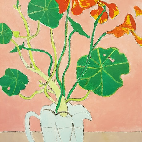 (CreativeWork) Nasturtiums With Crystal Jug by Louise Hamill. Mixed Media. Shop online at Bluethumb.