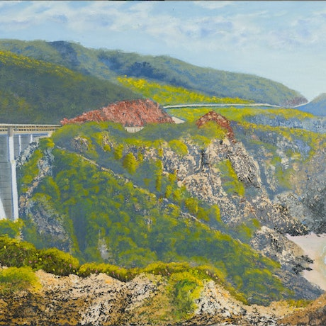 (CreativeWork) Big Sur California Coast Line by Kit McNeill. Oil Paint. Shop online at Bluethumb.