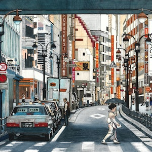 (CreativeWork) Tokyo Crossing - LARGE Limited Edition Print Ed. 2 of 50 by Erin Nicholls. print. Shop online at Bluethumb.