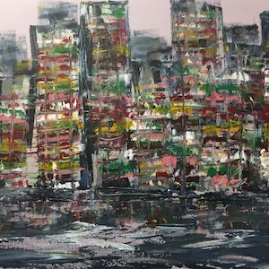 (CreativeWork) New York by Ernesto Zollo. arcylic-painting. Shop online at Bluethumb.
