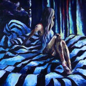 (CreativeWork) Sea of Blues by Simone Linssen. oil-painting. Shop online at Bluethumb.