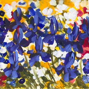 (CreativeWork) blue Iris and wildflowers  by Amanda Brooks. arcylic-painting. Shop online at Bluethumb.
