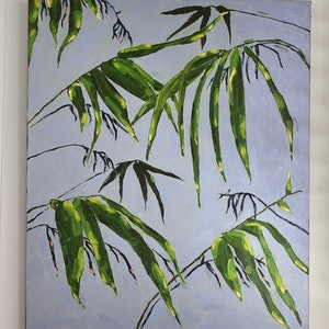 (CreativeWork) Backyard bamboo by Kate Quinn. oil-painting. Shop online at Bluethumb.