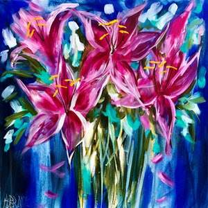 (CreativeWork) Oriental lily by Amanda Brooks. arcylic-painting. Shop online at Bluethumb.