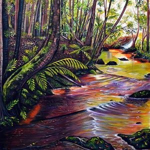 (CreativeWork) Blue Mountains Stream by Linda Callaghan. arcylic-painting. Shop online at Bluethumb.
