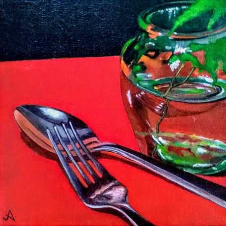 (CreativeWork) Fork and spoon by Jenny Albanis. Acrylic Paint. Shop online at Bluethumb.