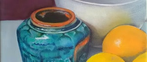 (CreativeWork) Ginger jar and lemons by Jenny Albanis. arcylic-painting. Shop online at Bluethumb.