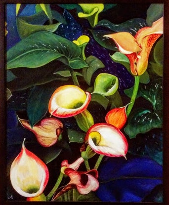 (CreativeWork) Lilies in the Botanic Garden by Jenny Albanis. Oil Paint. Shop online at Bluethumb.