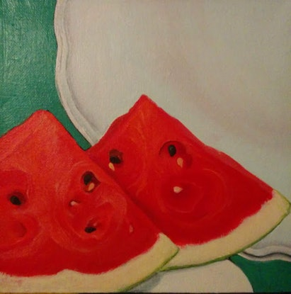 (CreativeWork) Watermelon by Jenny Albanis. Acrylic Paint. Shop online at Bluethumb.