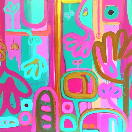 (CreativeWork) Pink Spring by Sarah Morrow. Acrylic Paint. Shop online at Bluethumb.