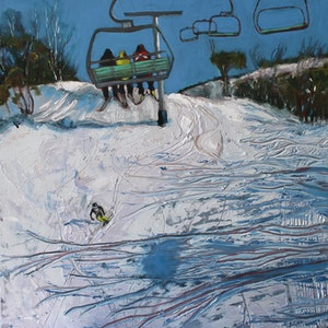 (CreativeWork) Into the blue, skiing in Kosciuszko by fiona smith. oil-painting. Shop online at Bluethumb.