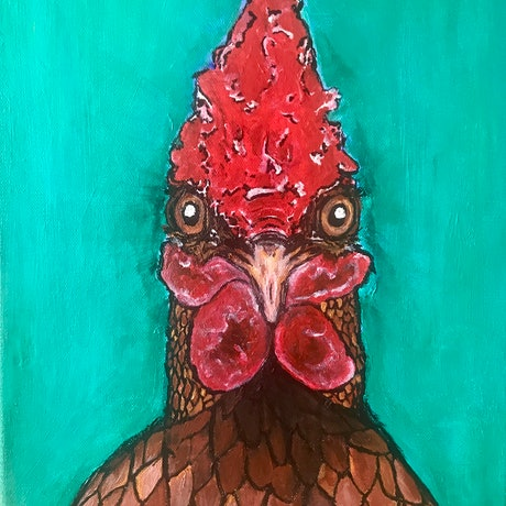 (CreativeWork) Ramone the Rooster.  by Erin Darmanin. Acrylic. Shop online at Bluethumb.