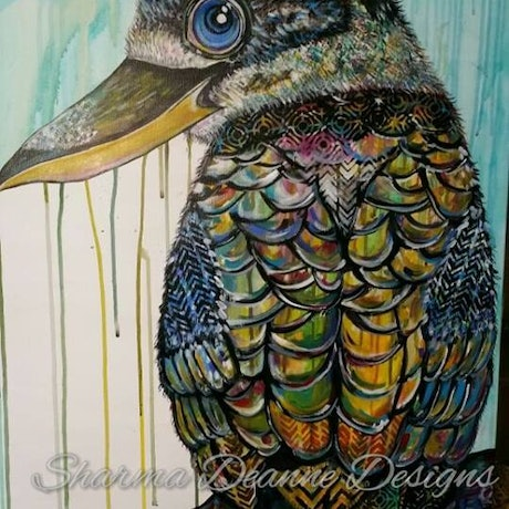 (CreativeWork) Shy Kookaburra by Sharma Ferguson. Acrylic Paint. Shop online at Bluethumb.