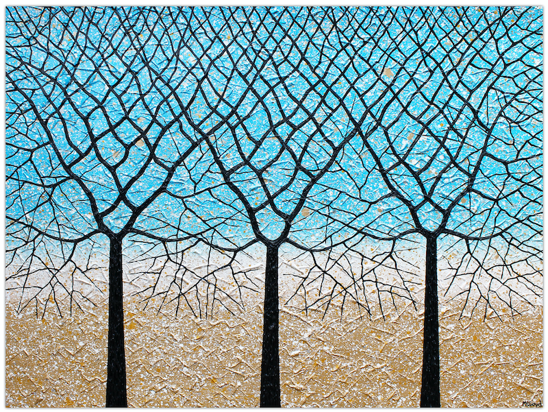(CreativeWork) Trees of Life (beach blues textured abstract landscape) by Miranda Lloyd. other-media. Shop online at Bluethumb.