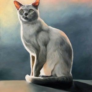 (CreativeWork) My Feline Friend by maria radun. oil-painting. Shop online at Bluethumb.