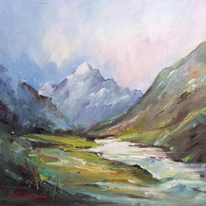 (CreativeWork) Walk towards Mt Cook #2 by Liliana Gigovic. oil-painting. Shop online at Bluethumb.