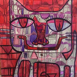 (CreativeWork) Kitty Cat by Pamela Irving. drawing. Shop online at Bluethumb.