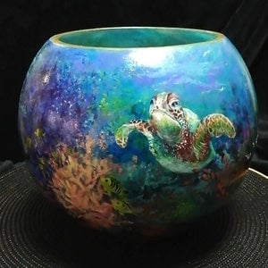 (CreativeWork) Reef Fishbowl by Cathy Gilday. arcylic-painting. Shop online at Bluethumb.