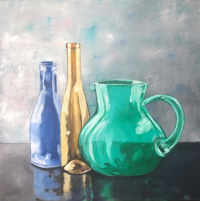 (CreativeWork) Gold Bottle Still Life by Annabelle Brockman. Acrylic Paint. Shop online at Bluethumb.
