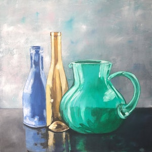(CreativeWork) Gold Bottle Still Life by Annabelle Brockman. arcylic-painting. Shop online at Bluethumb.