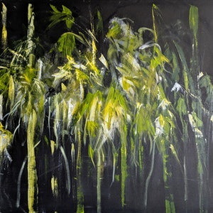 (CreativeWork) BAMBOO AT NIGHT by Myffie Coady. arcylic-painting. Shop online at Bluethumb.