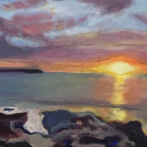 (CreativeWork) Beach Sunrise  by Susannah Bond. oil-painting. Shop online at Bluethumb.