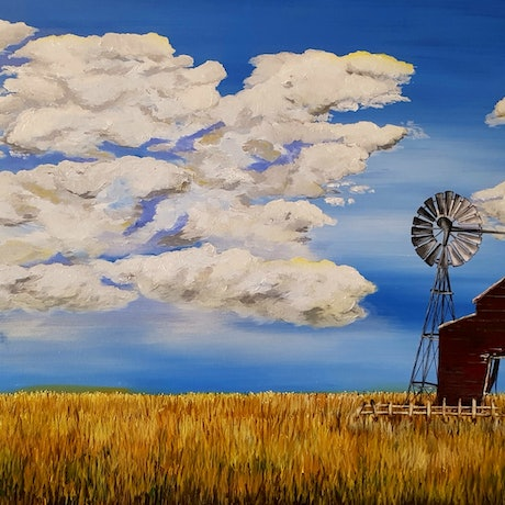 (CreativeWork) On the farm by Michelle Baxter. Acrylic Paint. Shop online at Bluethumb.
