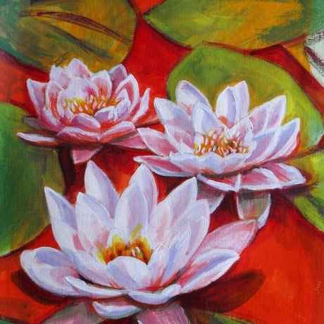 (CreativeWork) three lilies by Raymond Wittenberg. Acrylic Paint. Shop online at Bluethumb.