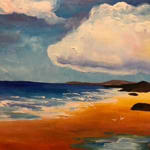 (CreativeWork) Gorgeous sunset at Port Stephens by Sandy Chen. arcylic-painting. Shop online at Bluethumb.
