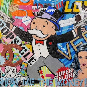 (CreativeWork) Monopoly Splurge 140cm x 100cm Acrylics, Sugar Sprays, Texture, Gloss finish music Urban Pop Art  by _Franko _. arcylic-painting. Shop online at Bluethumb.