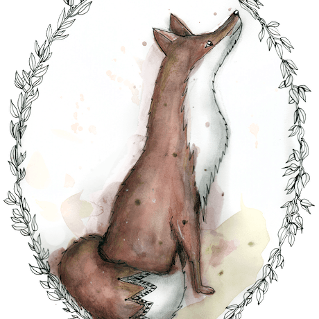(CreativeWork) Fox looking up by Jenny Wood. Drawings. Shop online at Bluethumb.