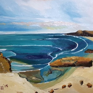 (CreativeWork) Pearse's Beach. Victoria  by Timothy Dell. oil-painting. Shop online at Bluethumb.