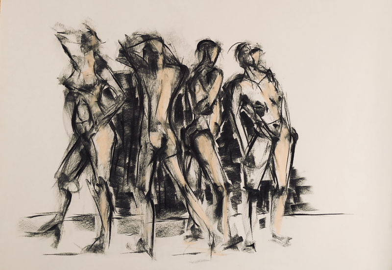 (CreativeWork) Life Study of Four Women in Pastel - 20 Sept 2018, Ref-1010 by Phil Schulz. drawing. Shop online at Bluethumb.