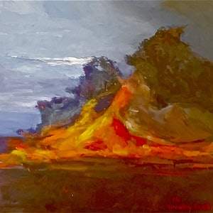 (CreativeWork) Fire by Timothy Dell. oil-painting. Shop online at Bluethumb.