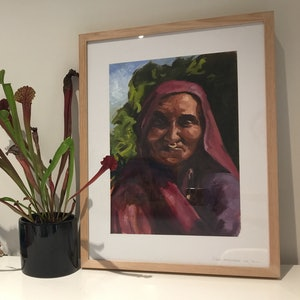 (CreativeWork) Nepalese Grandmother  by Jane Kanizay. oil-painting. Shop online at Bluethumb.