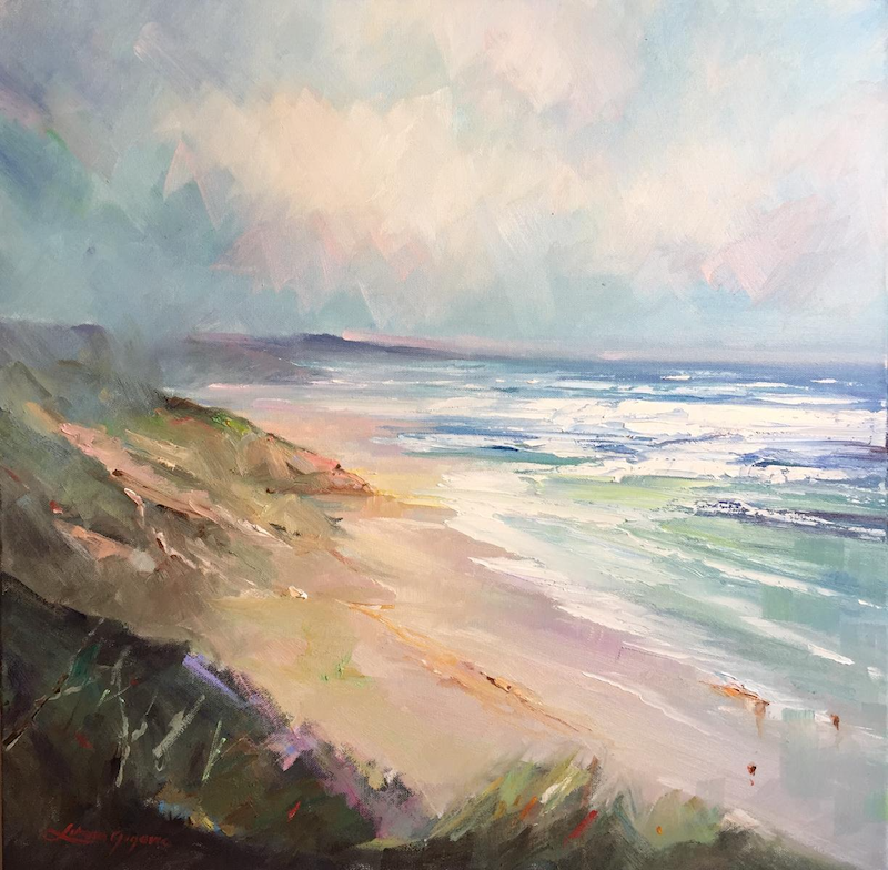 (CreativeWork) Portsea - The Back beach #9 by Liliana Gigovic. oil-painting. Shop online at Bluethumb.